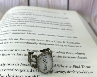 Harry Potter Hedwig Filigree Ring / Hedwig Owl Harry Potter Book Page Ring / Adjustable  / Muggle, Witch, or Wizard Gift