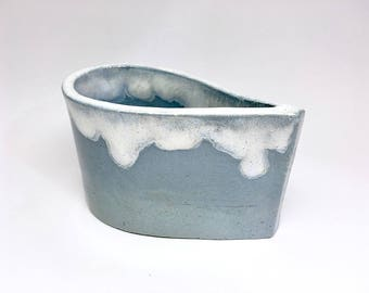unique ceramic desk organizer made of blue clay in a drop look with a shimmery mother of pearl luster