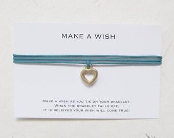 Make a wish bracelet, wish bracelet, love bracelet, heart bracelet, W54