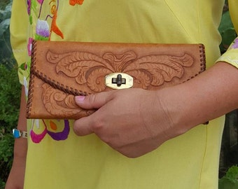 Mexican Hand Tooled Leather Clutch Purse Wallet Billfold