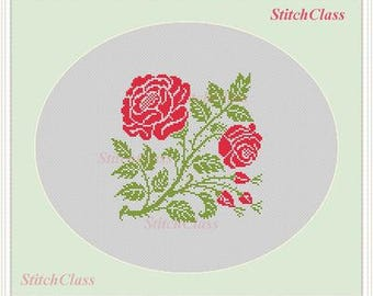 Cross Stitch Pattern Flower Rose with buds Cross Stitch Pattern cross-stitch patterns PDF Buds and Roses crossstitch