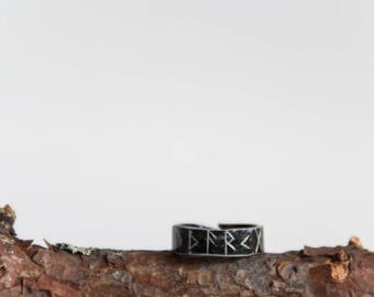 Dark raw aluminum ring with carved runes. Hammered aluminum ring. Dark metal ring. Viking ring. Rune ring.