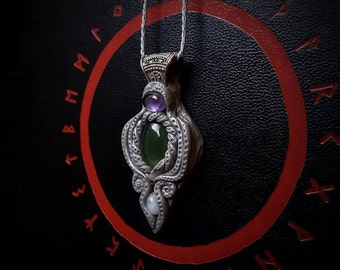 Elven Crystal Pendant with Amethyst, Serpentine and Moonstone /Crystal Pendant/Crystal Jewelry/Handmade/Unique/Pagan/Heathen/Nordic/Necklace