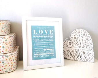 Personalised Framed love bible verse - 1 Corinthians 13:4-8 - Christian Gifts - Christian Print - Faith Prints - Gift for Him - Gift for Her