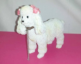 Vintage Poodle with Chain,Poodle Figurine,White Poodle,Pink Bows,Kitsch,Kitschy,Poodle Figurine,Spaghetti Poodle,Poodle w/Leash,Poodle,1950s