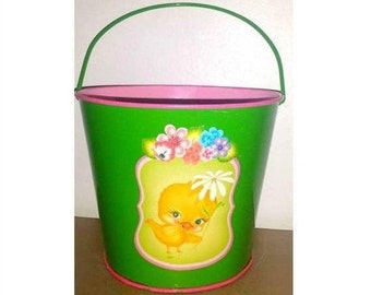 Vintage Metal Sand Bucket,Tin Beach Pail, Easter Bucket,Baby Chick, Kitschy,Pink and Green Pail,Tin Litho Bucket, Sand Pail,Daisy,Kitsch,MCM