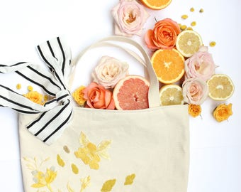Bloom Tote, Canvas Tote, Floral Tote, Market Bag, Beach Tote, Travel Tote, Embroidered Bag, Beading Bag