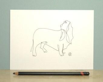 Single Line Character Art : One of a kind contour original line drawing art dog black