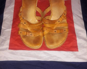 90's does 70's tan leather hippie boho wedge heel sandals