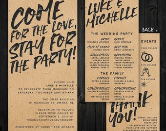 Kraft paper wedding invitation Etsy