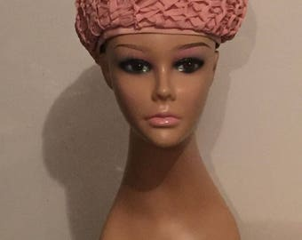 Vintage Hat Women's Hat Dusty Rose Pink Lace Beret Elegant
