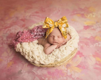 VINTAGE MUSTARD FLORAL Gorgeous Wrap- headwrap; fabric head wrap; floral head wrap; boho; newborn headband; baby headband; toddler bow