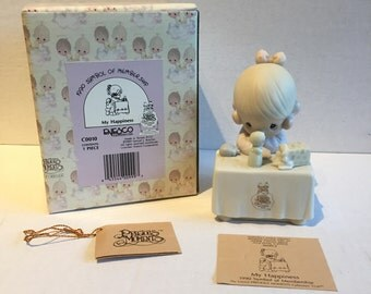 "Vintage Precious Moments ""My Happiness"" Figurine - Limited 1990 Symbol of Membership, Girl at Table"