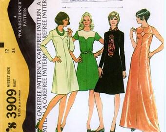 "1970s Cocktail Dress Keyhole Neckline Retro Dress Pattern McCALLS 3909 bust 34"" Yoke Dress A-line Dress Pattern Evening Gown Pattern"