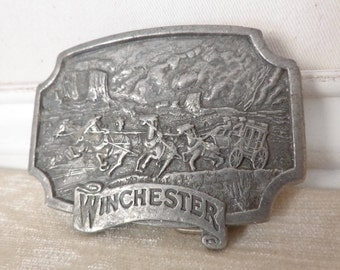 Vintage Winchester Pewter Belt Buckle, made by Winchester, 1975