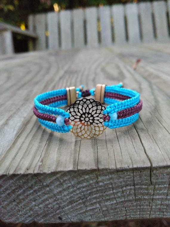 MACRAME BRACELET FILIGREE flower