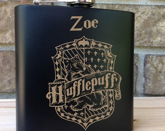Hufflepuff House Coat of Arms - Harry Potter Theme Engraved Single Flask Personalized with First Name - SHIPS from the USA