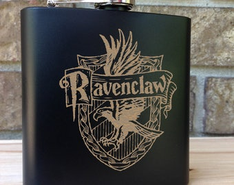 Ravenclaw House Coat of Arms - Harry Potter Themed Engraved Single Flask - Wedding Gift - Bridal Gift - Grooms Gift - Birthday Gift - USA
