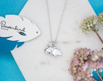 Cat Origami Sterling Silver Short Necklace