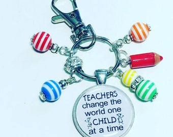 "Teacher keyring keychain ""Teachers change the world one child at a time"" handmade gift nursery teacher preschool"