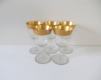 1950s Cocktail Glasses Gold Set of 5 Small vintage cocktail glasses Vintage Stemware Vintage Gold Rimmed glasses Drinkware Barware