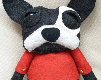 Pierre the French Bulldog - handmade plush toy creature