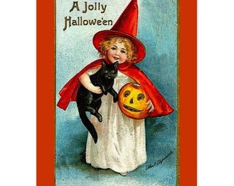 Greeting Card VICTORIAN GIRL WITCH Black Cat Jack O Lantern Halloween Quick Ship