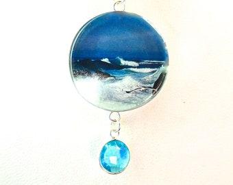 Ocean Themed Jewelry, Beach Wedding, Ocean Necklace, Sea Jewelry, Ocean Pendant, Beach Bride Jewelry, Wave Pendant, Womens Ocean Jewelry