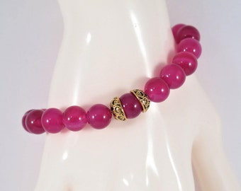 Fuchsia  Agate Bracelet, 10 mm with gold filigree caps  #1177B