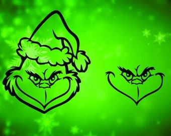 Christmas svg, Grinch Faces Cut file in SVG, DXF, PNG, Winter Holiday file