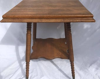 "Victorian quarter sewn oak, brass and glass claw foot parlor table, 23"" x 23"" x 29"""