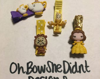 Disney Inspired beauty and the beast clip barrettes