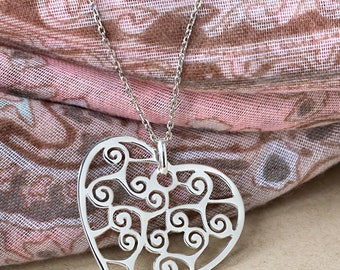 Triskelion Heart Necklace-Heart Pendant- Sterling silver Basque  Symbol, triskel jewels, basque jewelry, woman pendant, birthday gift CTR-02