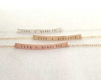 Type 1 Diabetes Bracelet, Rose Gold Medical ID Bracelet, Hand Stamped Bar Jewelry, Type 1 Diabetic, Medical Alert, Slim Bar Bracelet