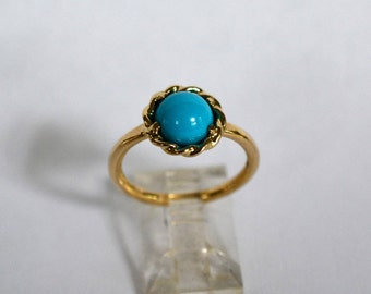 14kt Yellow Gold & Sleeping Beauty Turquoise Twist Head Ring