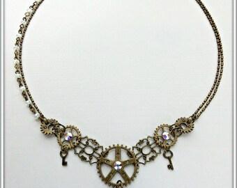 Steampunk choker, Gears choker, Bronze steampunk necklace, Octopus Steampunk choker, Steampunk jewelry, Steampunk gift, Gift for her