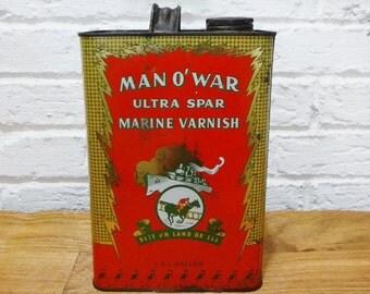 Advertising Tin/Gallon Can/Metal Can/Farmhouse Decor/Rustic Decor/Industrial Decor/Man Cave/Man O War/Marine Varnish/Vintage/Collectors Tin/