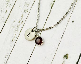 Initial Necklace, Silver Birthstone Necklace, Hand Stamped Monogram Necklace, Swarovski Crystal Birthstone Charm, Personalised