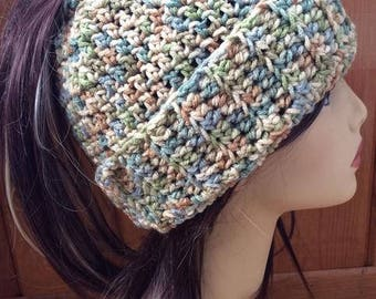 Messy Bun Ponytail Hat - Light Blue, Green and Tan Variegated