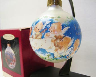 Hallmark-Godparent-Mary Hamilton Design-Keepsake Christmas Tree Ball Ornament-Vintage 1994 Holiday Decoration-Singing Angels-Original Box