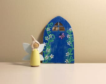 Fairy Door and Fairy Peg Doll, Wood Toy, Waldorf, Peg People