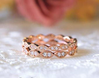 Mix & Matched Art Deco Full Eternity Band Set Ring-Brilliant Cut Pave Stone-Stackable Set Ring-Rose Gold Plated-Sterling Silver [65429RGE-2]