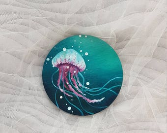 Original painting, Jellyfish, Under the sea