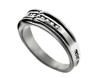 "CZ Cross Ring ""Trust"""