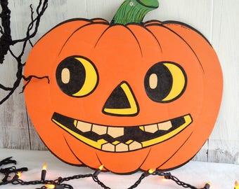 Ephemera Halloween Jack O Lantern Vintage Halloween  Beistle Co. Paper Die Cut Pumpkin Rare Old Hallowee 1930's Pumpkin Beistle Co. Paper