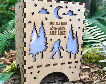 "Wooden ""Not all who wander"" - Night Light"