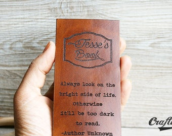 Leather Bookmark, Custom Quote Bookmark, Leather Engraving, Books lover, Unique Personalized bookmark, Gift for him, Custom, Literary Quote