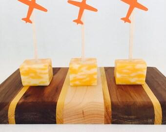 15 Airplane Appetizer Picks - Orange - Time is Flying - Birthday Party - Going Away - Food Picks - Pilot - Boy Birthday
