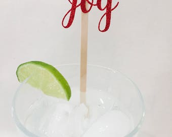 15 Christmas Stir Sticks - Joy - Red Glitter - Christmas Party - Cheers - Stir Sticks - Holiday Party - Cocktail Party