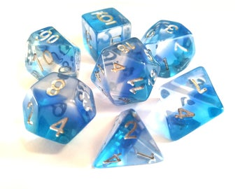 Icy Translucent Layered Polyhedral Dice Set, D&D, Dungeons and Dragons, RPG, Roleplaying, Pathfinder, Set of 7, Ice Blue, Gem Dice